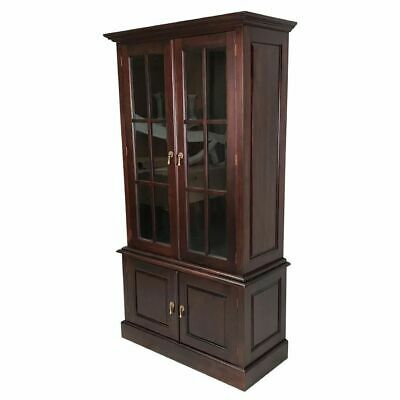 AU1340 • Buy Solid Mahogany Wood Bookcase With Cupboard Glass Doors Cabinet Antique Style
