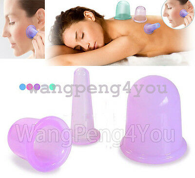 Anti Cellulite Silicone Massage Vacuum Cupping Cup Set Slimming Body Facial Cups • 5.99£