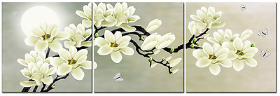 $31.99 • Buy White Magnolia Flower Wall Art Picture Print Canvas Framed Home Hang Decor Gift