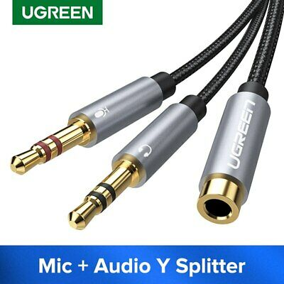 Ugreen Headphone Mic Cable 3.5mm Audio Microphone Splitter Adapter For Speaker • 4.07£