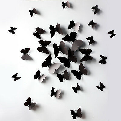 AU5.95 • Buy BLACK 3D DIY Wall Sticker Butterfly Home Room Decor Decorations 12 Pcs Set