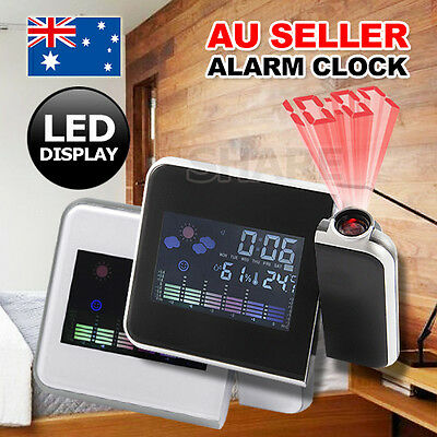 AU15.85 • Buy Digital LCD LED Time Projector Colorful Snooze Alarm Clock Weather Temperature