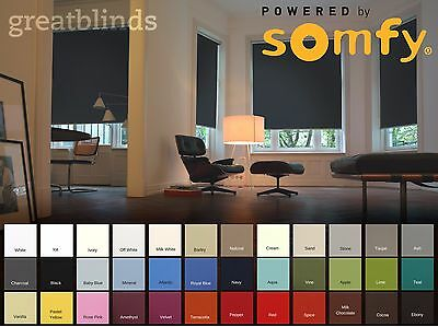 Somfy Electric Blackout Roller Blinds With Remote Control - Fast Delivery • 129£