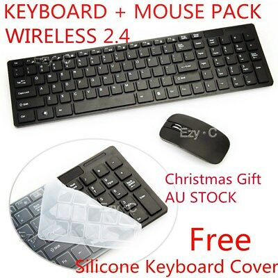 AU26.49 • Buy Black 2.4 GHz Cordless Wireless Keyboard And Optical Mouse USB Receiver Set AU