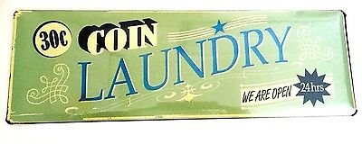 New Shabby Vintage Retro  Chic Sign  Coin Laundry  Metal Sign • 9.90£