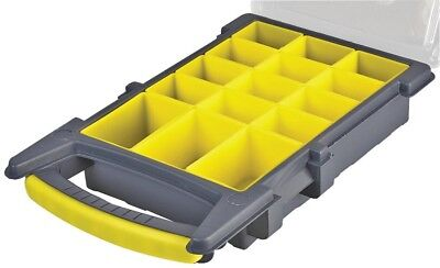 £10.99 • Buy 21cm 15 Compartment Grey / Yellow Organiser Case With Removable Tray