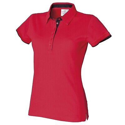 £2.99 • Buy Front Row Women's Ladies Fitted Pique Polo Shirt Red With Navy Contrast FR201