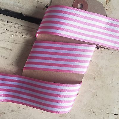 £2.25 • Buy 25mm Wide Pink And White Stripe Ribbon - 1M Or 25M Roll - Sewing Crafts