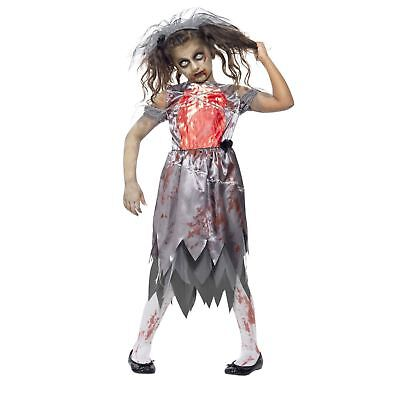 Girls Zombie Bride To Be Dress Costume With Veil Kids Halloween Creepy Scary • 15.33£