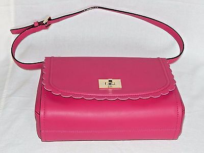 $ CDN164.52 • Buy Nwt $278 Kate Spade Jazmin Maple Court Leather Pink Scalloped Shoulder Bag Purse