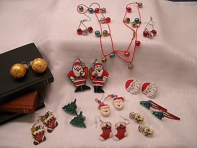 $ CDN12.62 • Buy Christmas Vintage & Modern Jewelry Lots - Nine  Earring Sets  And Necklace