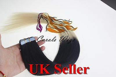 8A* Tape Skin 16'' Jet Black Into Blonde Russian Remy Human Hair Extensions UK  • 17.99£