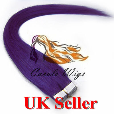 8A* Best Quality 18'' Tape-In Lila 100% Russian Remy Human Hair Extensions UK • 23.99£