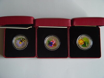 2012, 13, 14 Canada Bumble Bee, Butterfly, Water Lily Frog Glass Silver Coins • 699.99$