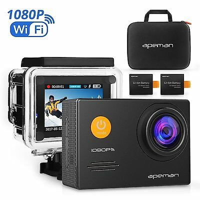 Action Cam Underwater Camera Wi-Fi 1080P 14MP With Case And Kit Of Accessories • 89.99£