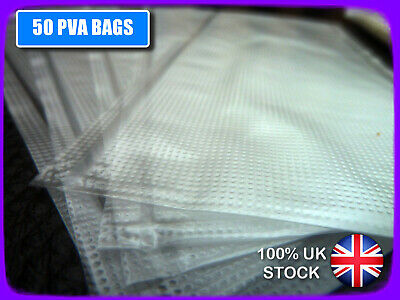 50  PVA BAGS, LICK 'N' STICK, 85x120mm. DIMPLED, STRONG, CARP BOILIES, PELLET  • 3.99£