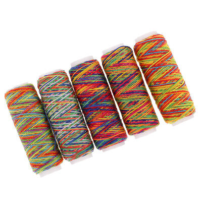 £2.72 • Buy 5pcs Rainbow Sewing Thread For Embroidery Machines Leather Bag Shoes Canvas