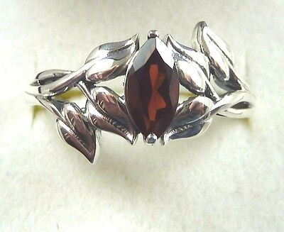 AU50.99 • Buy 0.73ct Natural Marquise Shape Garnet 925 Sterling Silver Ring