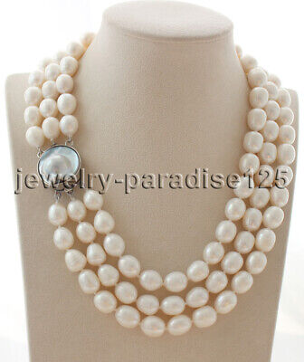 $59.99 • Buy J8242 - 3row 17-19  12-14mm White Baroque Freshwater Pearl Necklace - Mabe Clasp