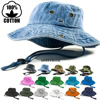 6f2a0296623 Boonie Bucket Hat Cap 100% Cotton Fishing Military Hunting Safari Summer  Men • 9.49