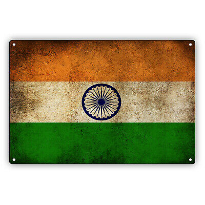 $9.99 • Buy India Country Flag Indian Vintage Look Wall Decor Novelty Aluminum Metal Sign