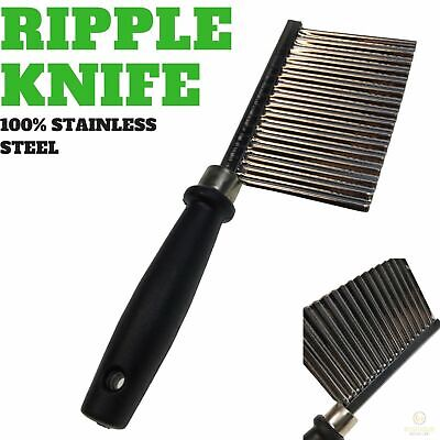 AU9.60 • Buy LARGE RIPPLE JELLY KNIFE Stainless Steel Blade Potato Crinkle Wavy Cutter Slicer