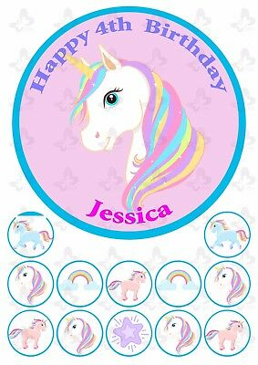 AU9.95 • Buy Unicorn Edible Cake Topper Image PERSONALISED PLUS 12 Cupcake Toppers