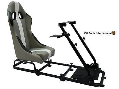 Car Gaming Racing Simulator Frame Chair Bucket Seat Gift For PS5 XBox Grey White • 284.99£