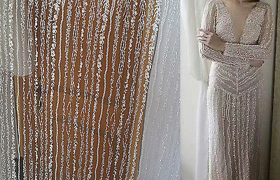 Sequin Costume Bridal Dress Fabric Embroidery Aqua Plant Wedding Lace Tulle 1 Y • 16.99£
