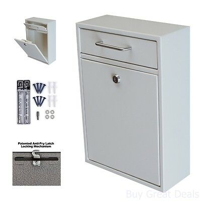 $91.99 • Buy Wall Mounted Locking Mailbox Mail Drop Box Home Improvement Indoor Outdoor White