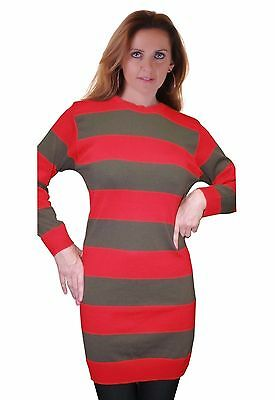 Womens Halloween Red And Green Freddy Krueger Fancy Dress Strippe Knitted Jumper • 10.45£