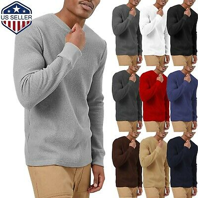 $16.99 • Buy Mens Heavy T SHIRTS Long Sleeve Waffle Tee THERMAL Cotton Sweater Winter