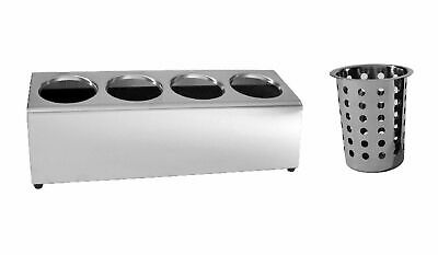 AU109.95 • Buy NEW Stainless Steel Cutlery Holder 4 Holes W/ Caddy Cylinder Utensils Basket