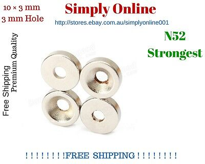 AU5.99 • Buy 5 PCS  N52  10mm × 3mm 3mm Hole Strong  Round Disc Magnets Rare Earth Neodymium