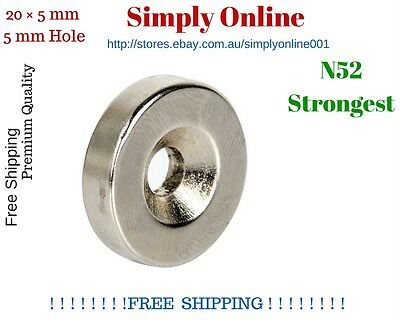 AU18.99 • Buy 5 PCS N52  20mm × 5mm 5mm Hole Strong  Round Disc Magnets Rare Earth Neodymium
