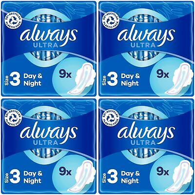 £9.75 • Buy Always Ultra Night Sanitary Towels Pads Wings Womens Super Absorbent Pack Of 40