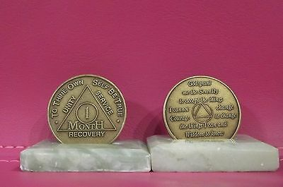 $3.50 • Buy Recovery Coins AA 1 Month Bronze Medallion Tokens Sobriety Affirmation Birthday