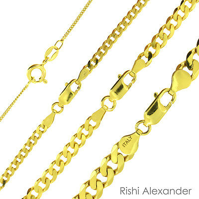 $101.99 • Buy 14k Gold Over 925 Sterling Silver Curb Cuban Mens Women Chain Necklace All Sizes