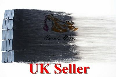 8A* Tape Skin 14  Jet Black Into Grey Russian Remy Human Hair Extensions UK • 16.99£