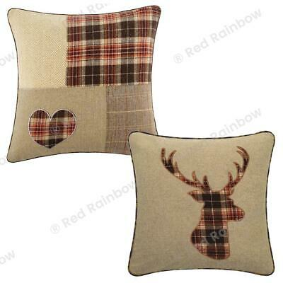 £6.99 • Buy Tartan Check Brown & Latte 18 Inch Cushion Cover In Highland Stag Or Heart