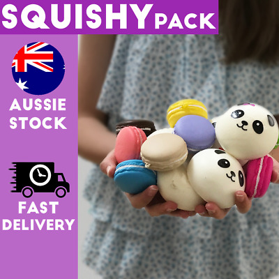 AU3.95 • Buy Pack Of Squishy Squishies Macaron Panda Cute Kawaii Stocking Filler Present2p/4p