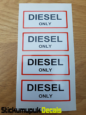 £2.50 • Buy 4 X DIESEL ONLY Stickers Labels Petrol Gasoline For Classic Or Race Car Camper