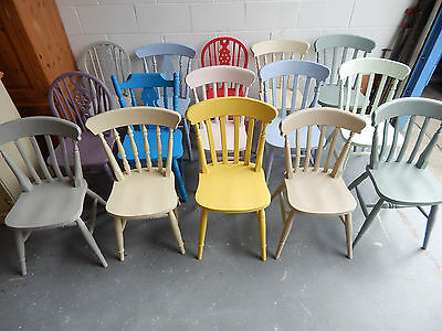 £85 • Buy Painted Solid Wood Farmhouse Country Style Kitchen Dining Chairs Mix Colour