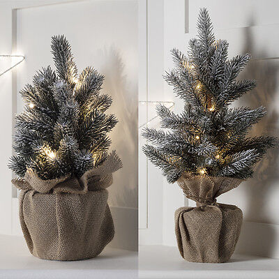 Pre Lit Warm White LED Mini Frosted Table Top Artificial Indoor Christmas Tree • 19.99£