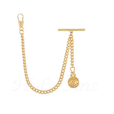 £9.99 • Buy Brand New Gold Colour Single Albert Pocket Watch Fob Chain With Pendant