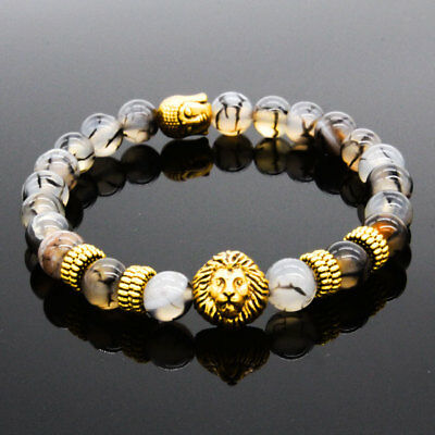 $6.49 • Buy 8MM Owl Buddha Beaded Natural Lava Stone Gold Silver Charm Fashion Men Bracelets