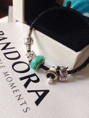 Authentic Pandora Sterling Silver Leather Bead Cross Bell Angel Charm Bracelet • 76.31£