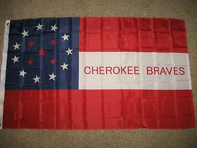 $7.33 • Buy Cherokee Braves Flag 3x5 Ft Indian Cavalry Civil War Historic Red White Blue