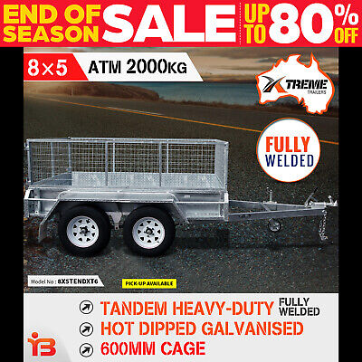 AU3190 • Buy 8x5 Tandem Heavy-Duty Full Welded Galvanised Box Trailer With 600mm Cage