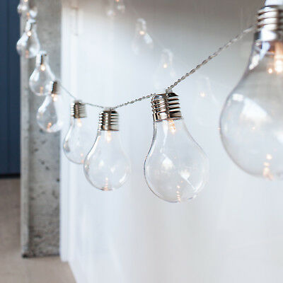 10 Edison Bulb Battery Operated Warm White LED Festoon Fairy Globe String Lights • 9.99£